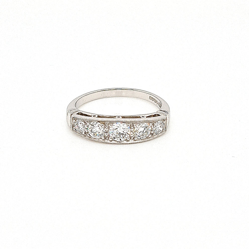 Load image into Gallery viewer, Vintage Style Platinum Diamond Five Stone Ring