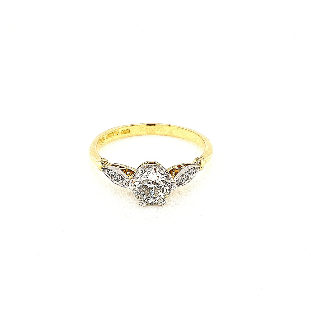 Antique Style Old-cut Solitaire Diamond Engagement Ring