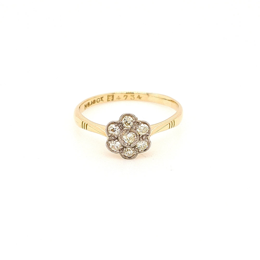Antique 18ct Gold Diamond Daisy Cluster Ring - Diana O'Mahony Jewellers