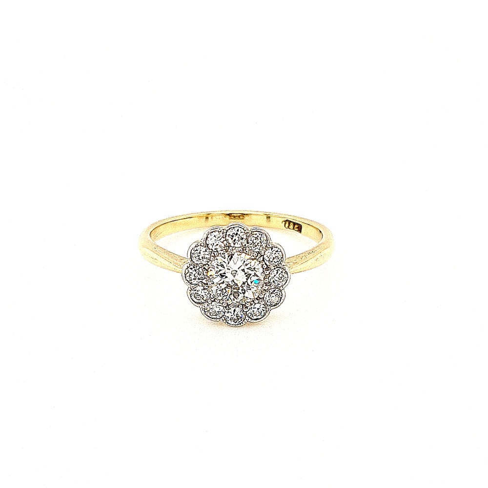 Antique Edwardian Daisy Cluster Diamond Engagement Ring