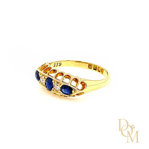 Load image into Gallery viewer, Edwardian Antique Five Stone Sapphire & Diamond Ring