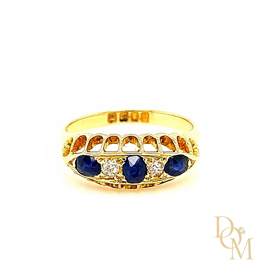 Edwardian Antique Five Stone Sapphire & Diamond Ring