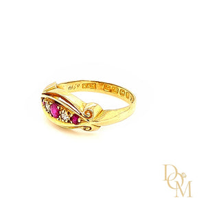 Edwardian Antique 5 Stone Ruby & Diamond Ring