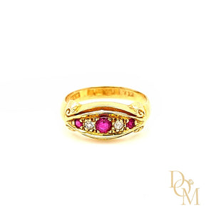 Load image into Gallery viewer, Edwardian Antique 5 Stone Ruby & Diamond Ring