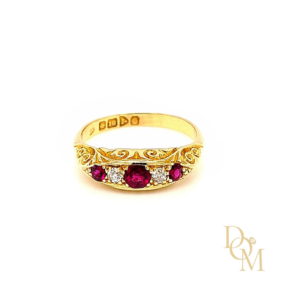 Victorian Antique Five Stone Ruby & Diamond Ring