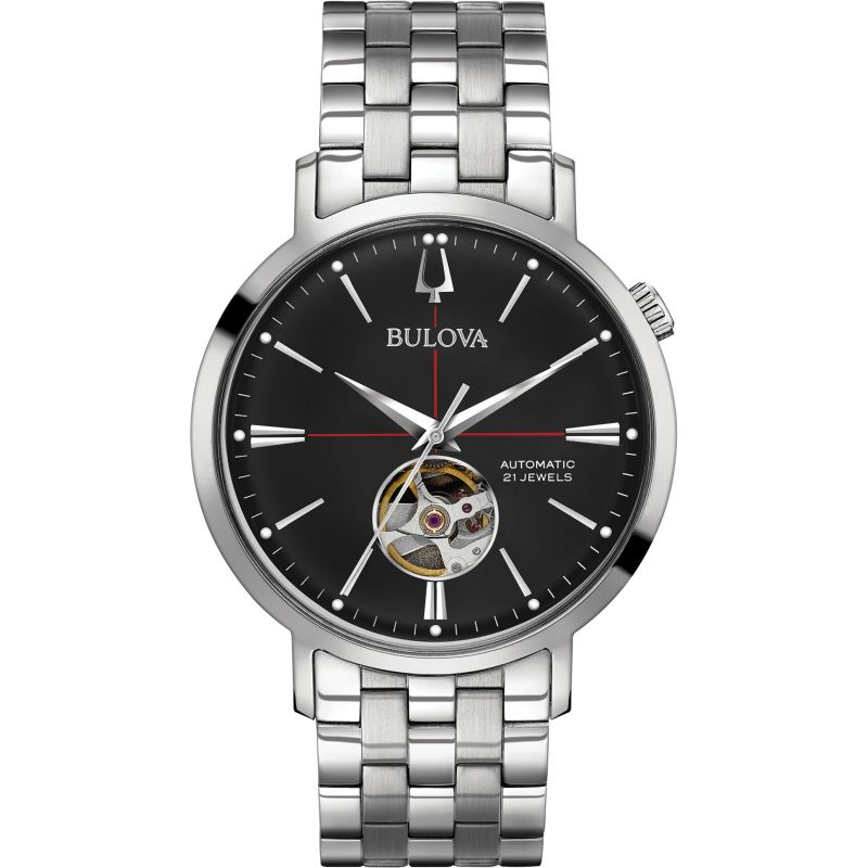 Gents Bulova Automatic Black Dial Steel Bracelet Watch 96A199