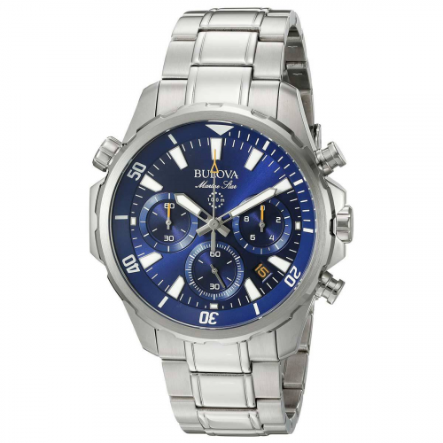 Load image into Gallery viewer, Gents Bulova Marine Star Blue Dial Chronograph Steel Bracelet Watch 96B256 - Diana O'Mahony Jewellers