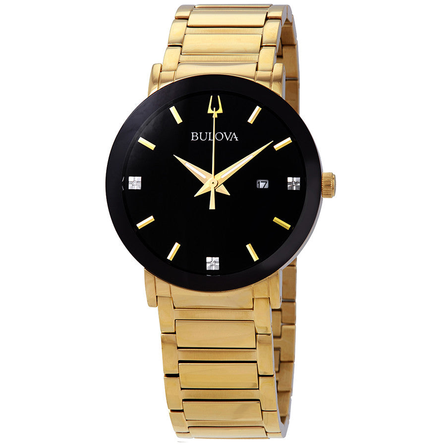 Sold Out- Gents Bulova Futuro Gold Watch with Black Dial 97d116