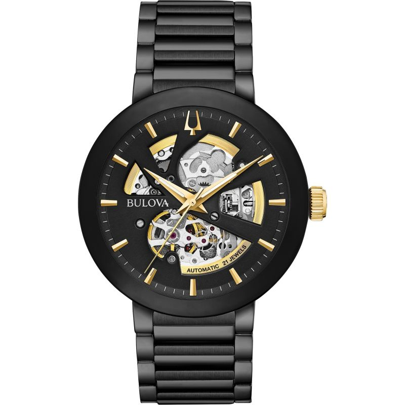 Gents Bulova Futuro Black Automatic Skeleton Movement Watch 98A203