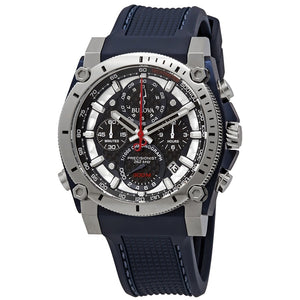 Gents Bulova Precionist Chronograph Watch with Blue Dial & Rubber Strap Watch 98B315 - Diana O'Mahony Jewellers