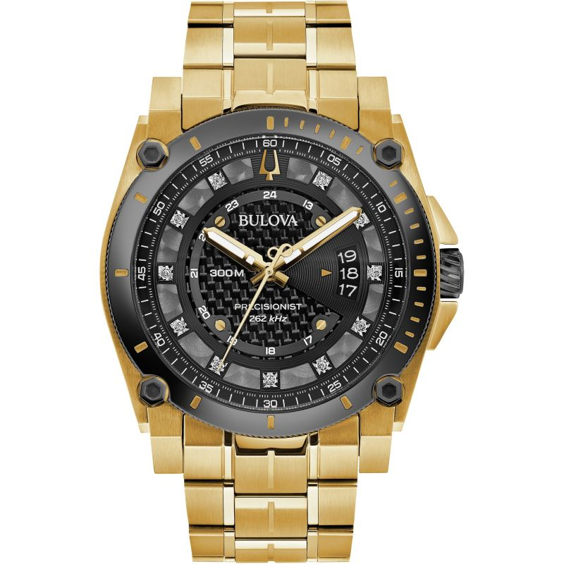 Bulova Men's Precisionist Gold & Diamond Watch - 98D156