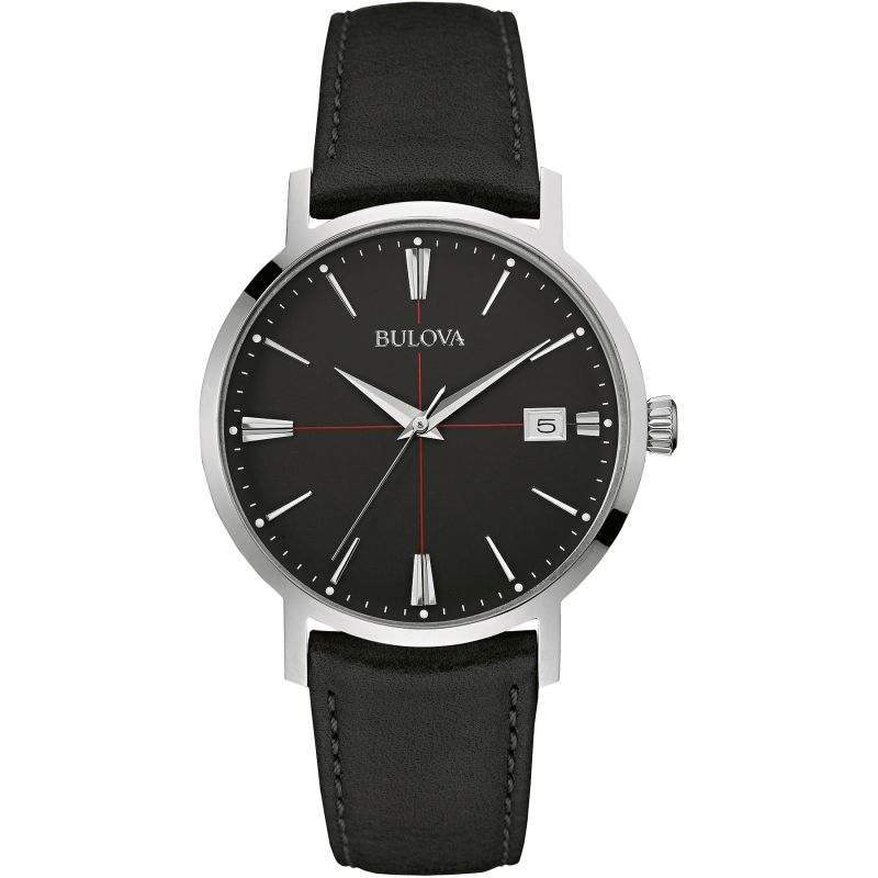 Gents Bulova Aerojet Leather Strap Watch - 96B243