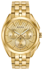 Gents Bulova Curv Gold Chronograph Watch - 97A125