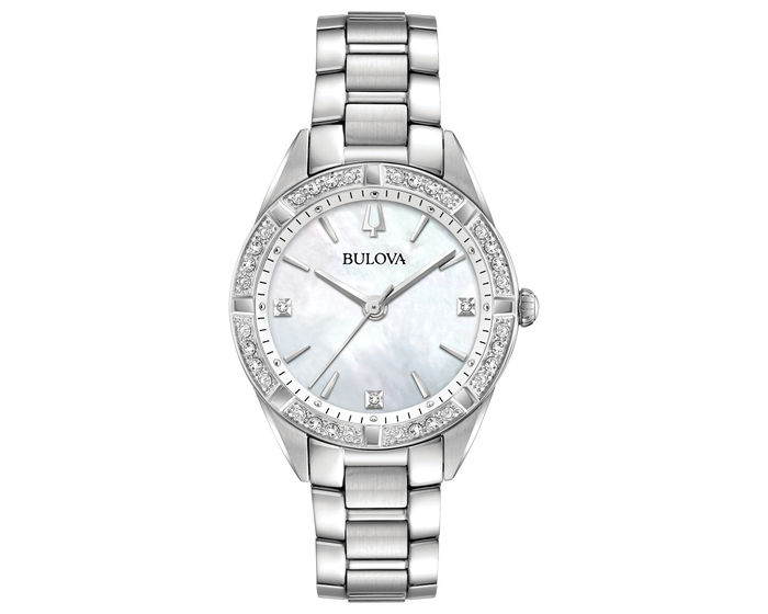 Ladies Bulova Mother of Pearl Dial Watch with Diamond Bezel 96R228