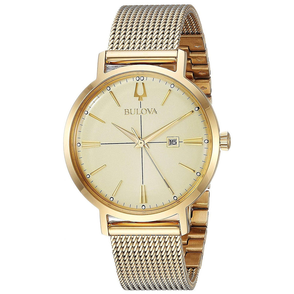 Ladies Bulova Gold Watch with Mesh Bracelet 97M115
