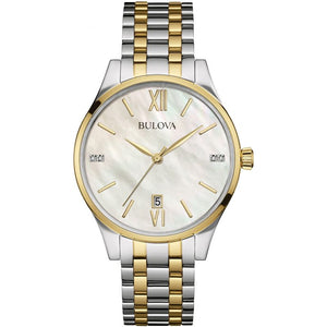Ladies Bulova Two Tone Gold & Steel Bracelet Watch with Diamond Set Mother of Pearl Dial 98S149 - Diana O'Mahony Jewellers