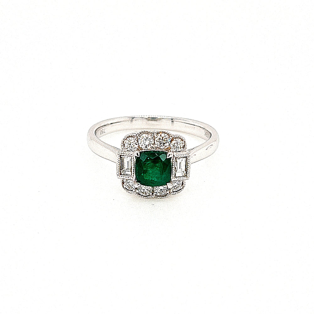 18ct White Gold Art Deco Style Emerald & Diamond Cluster Ring