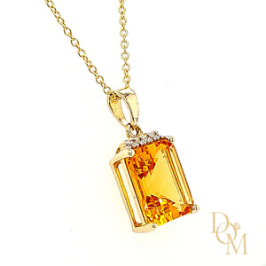 Load image into Gallery viewer, 9ct Yellow Gold Citrine & Diamond Pendant