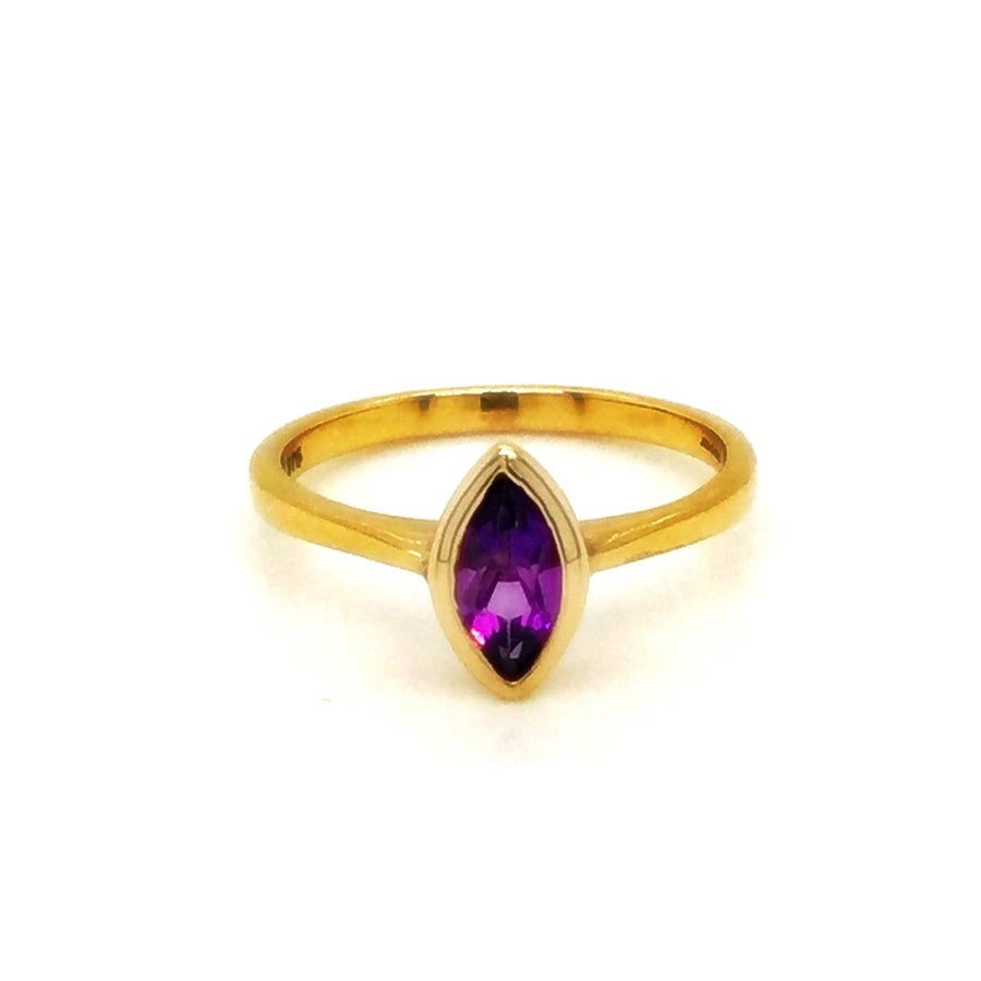 9ct Gold Rub Over Marquise Cut Amethyst Ring