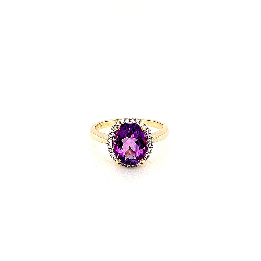 9ct Yellow Gold Oval-cut Amethyst & Diamond Cluster Ring