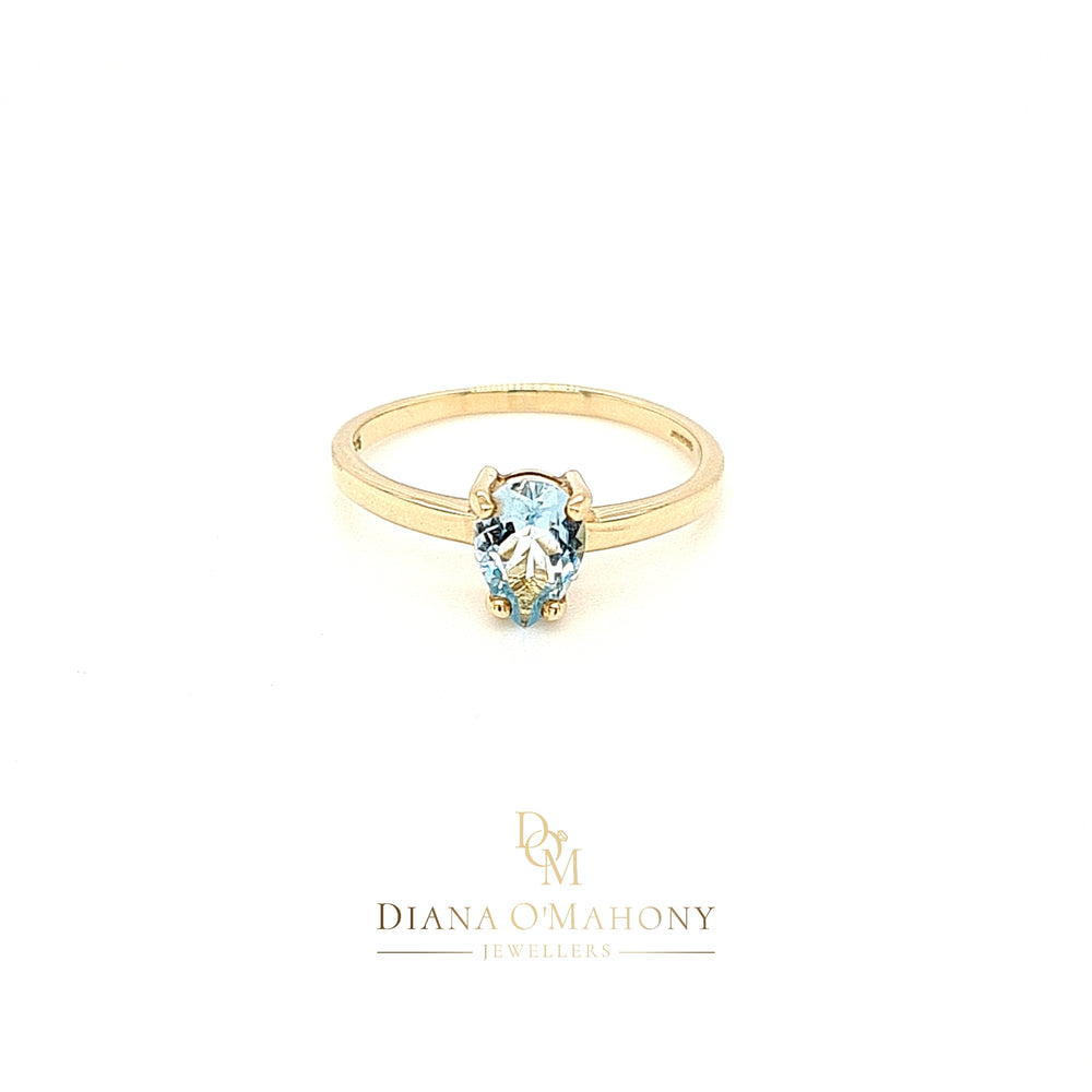 9ct Yellow Gold Pear-cut Aquamarine Solitaire Ring