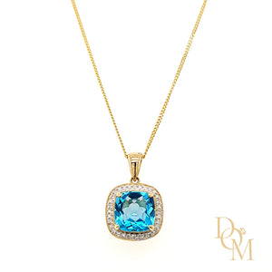 Load image into Gallery viewer, 9ct Yellow Gold Cushion-cut Blue Topaz & Diamond Cluster Pendant