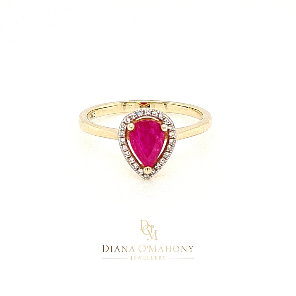 9ct Yellow Gold Pear-cut Ruby & Diamond Cluster Ring