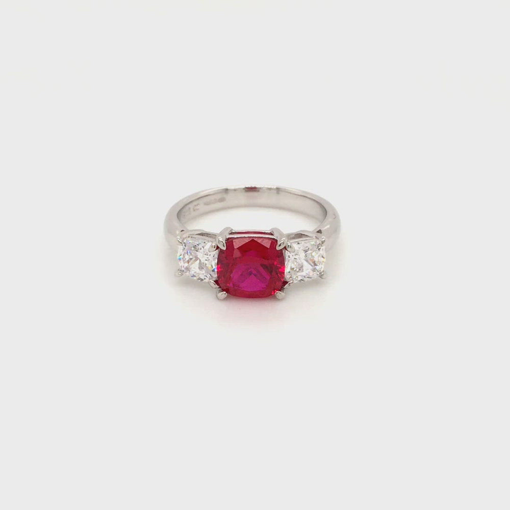 Load and play video in Gallery viewer, Sterling Silver Three Stone Ruby Red CZ Ring