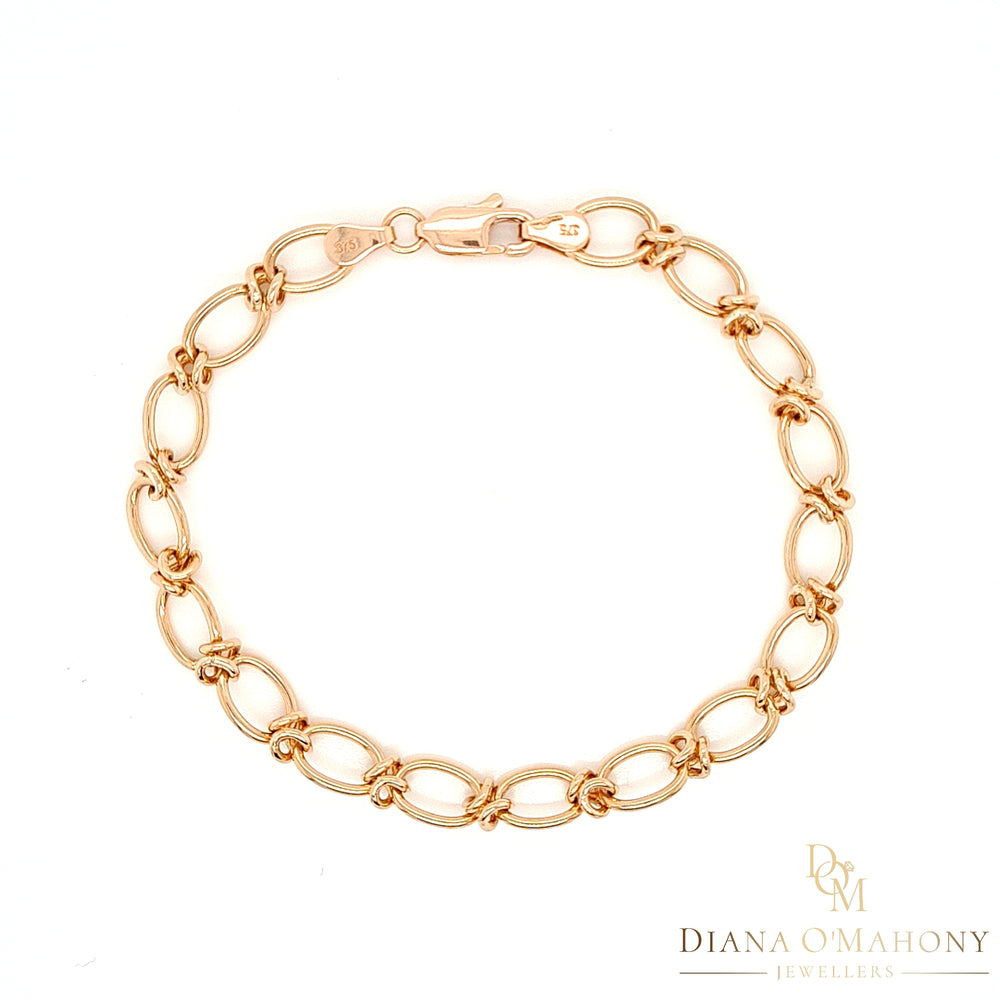 Load image into Gallery viewer, 9ct Rose Gold Oval & Knot Link Bracelet - Diana O'Mahony Jewellers