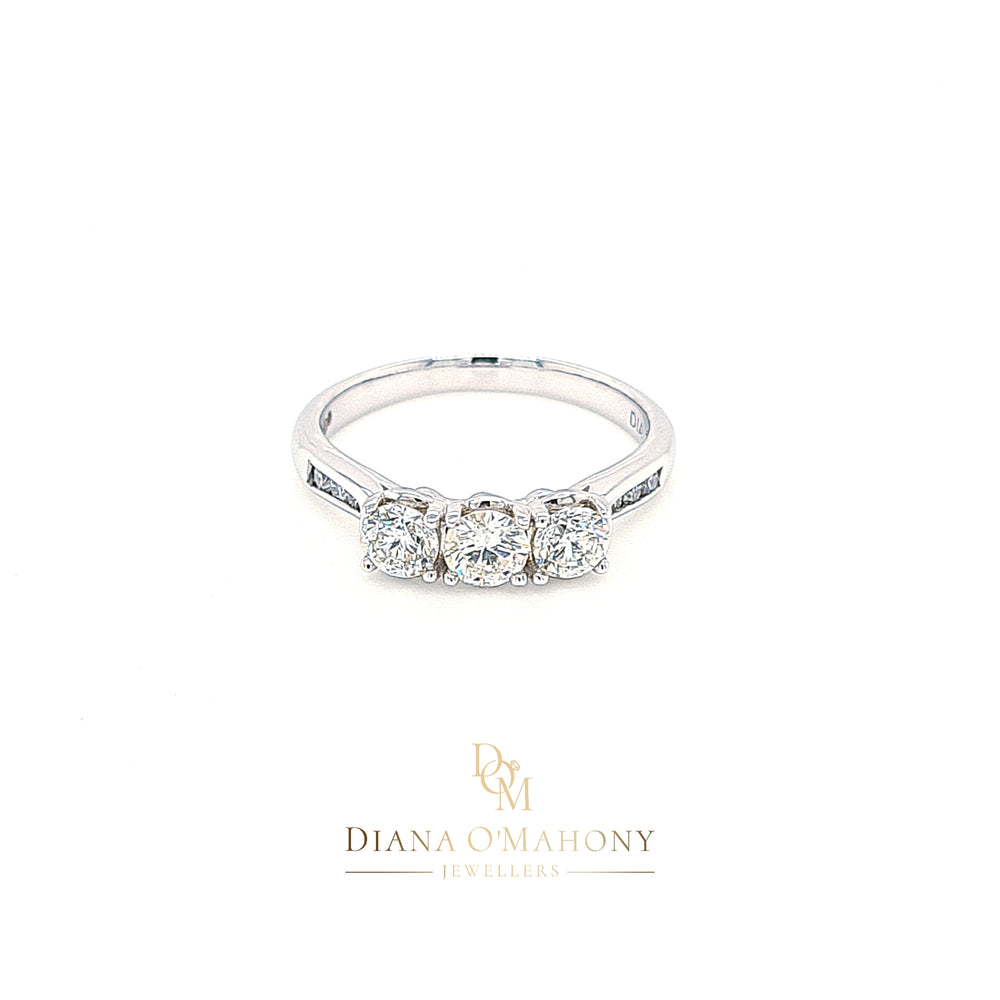 18ct White Gold Three Stone Diamond Engagement Ring with Diamond Shoulders