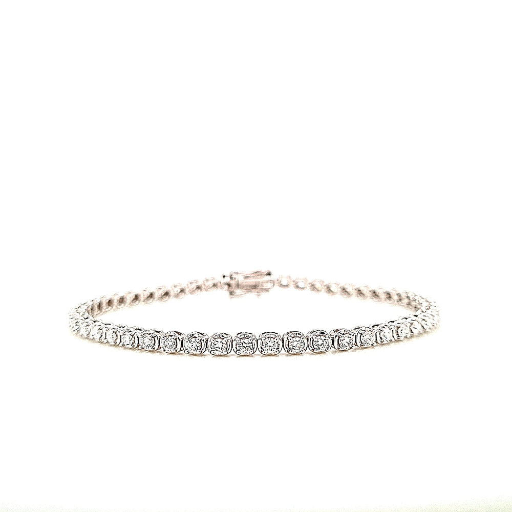18ct White Gold Diamond Tennis Bracelet