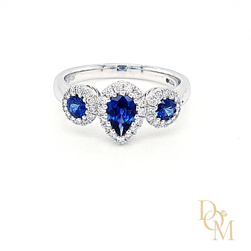 18ct White Gold Pear-cut Sapphire & Diamond Trilogy Cluster Ring
