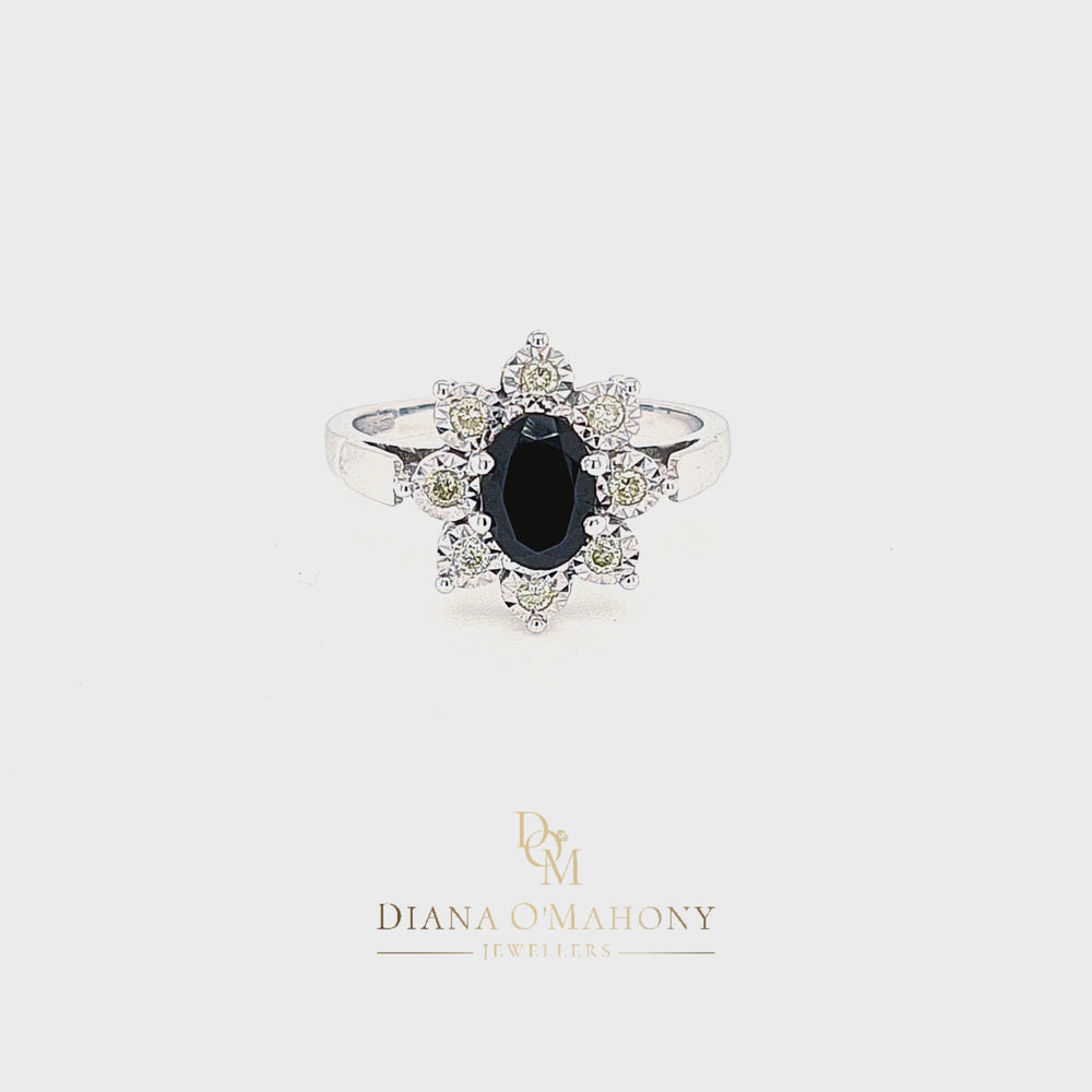 Load and play video in Gallery viewer, 9ct White Gold Sapphire & Diamond Cluster Ring