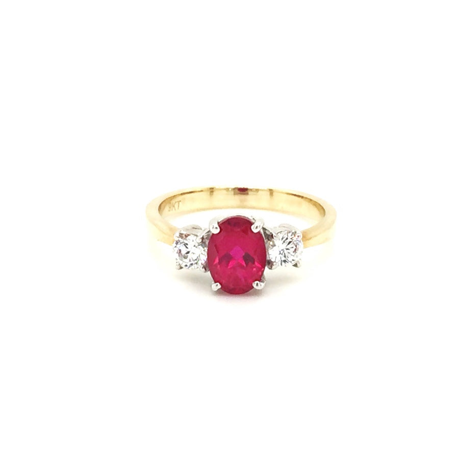 9ct Gold Ruby Cubic Zirconia Three Stone Ring - Diana O'Mahony Jewellers
