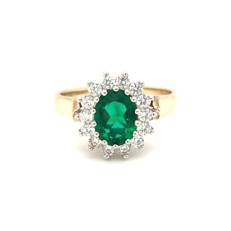 9ct Gold Emerald Cubic Zirconia Cluster Ring