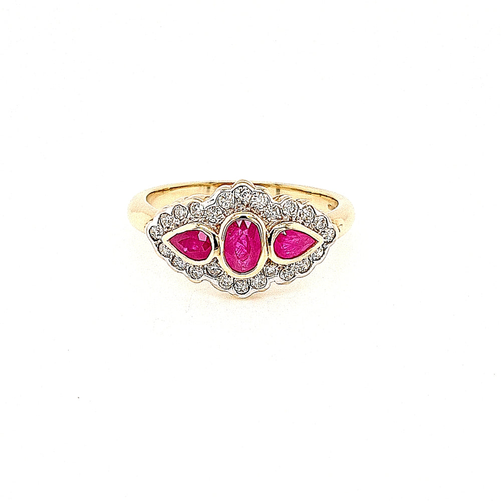 Antique Style Ruby Three Stone Diamond Cluster Ring