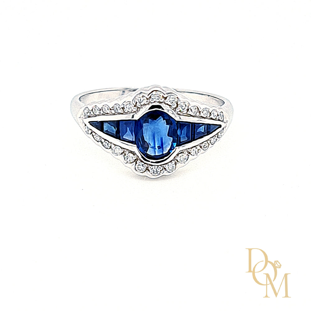 9ct White Gold Vintage Style Sapphire & Diamond Ring