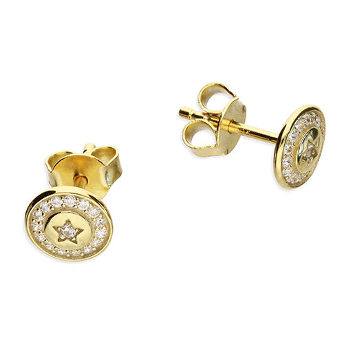 Sterling Silver Gold Vermeil CZ Star Halo Cluster Earring - Diana O'Mahony Jewellers