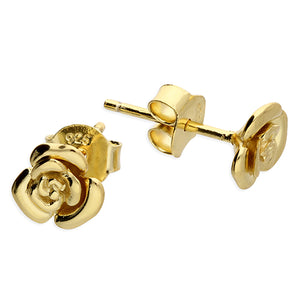 Sterling Silver Gold Vermeil Rose Earring - Diana O'Mahony Jewellers