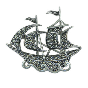 Vintage Style Sterling Silver Marcasite Gallion Brooch