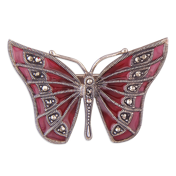 Load image into Gallery viewer, Vintage Style Marcasite Butterfly Brooch