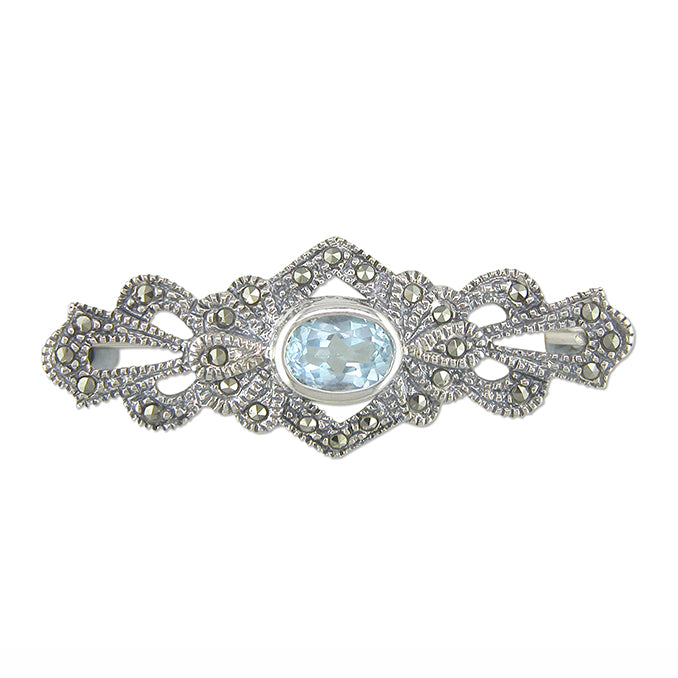 Load image into Gallery viewer, Vintage Style Blue Topaz & Marcasite Brooch