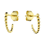 Gold Plated Sterling Silver Beaded J Half Hoop Stud Earrings