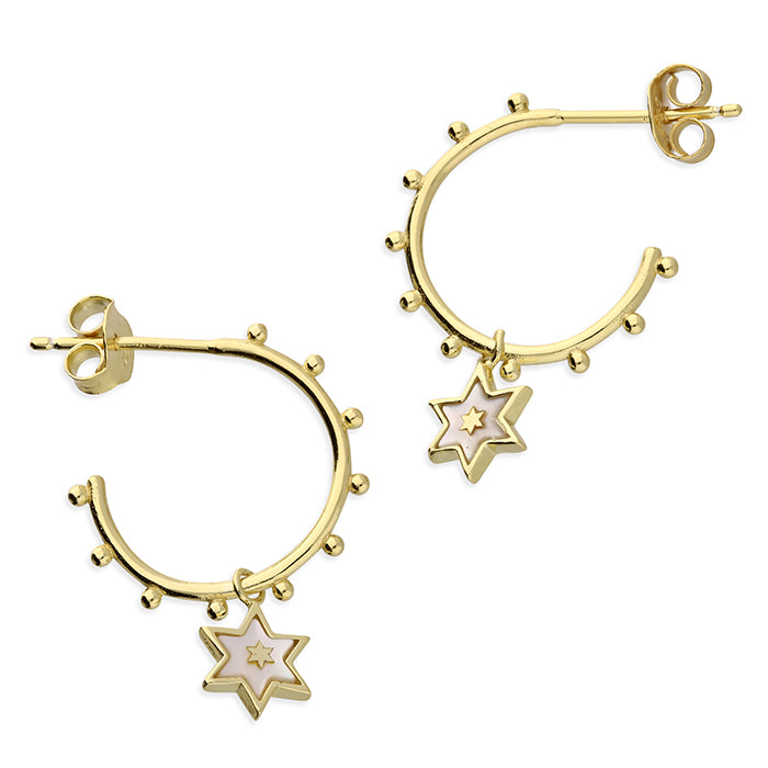 Yellow Gold Plated Sterling Silver Half Hoop Star Earrings