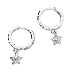 Sterling Silver Huggie Earrings with CZ Star Charm