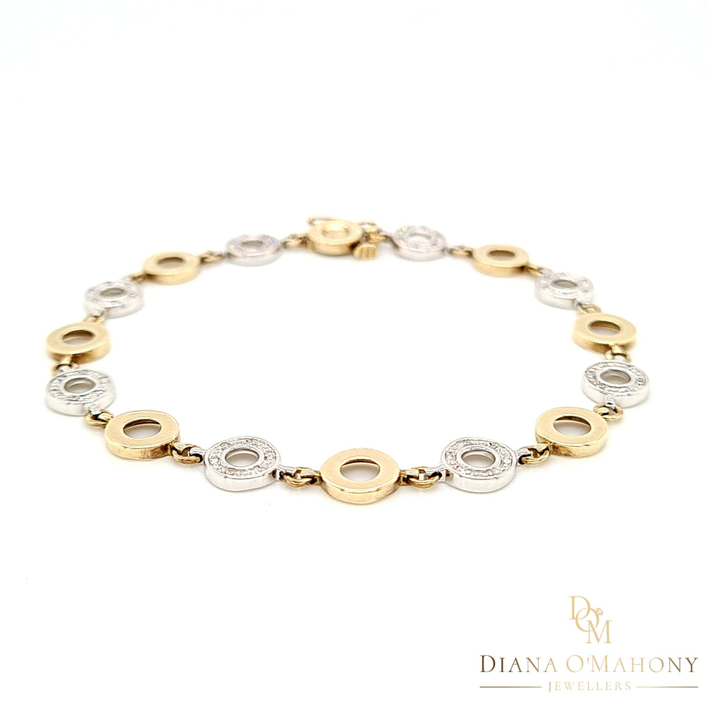 9ct White & Yellow Gold Circle Link Diamond Bracelet