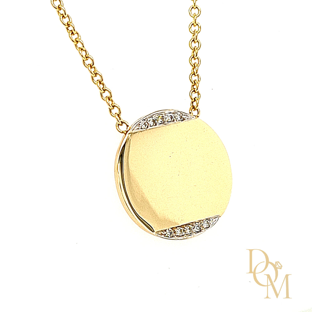 9ct Yellow Gold Diamond-Set Disc Necklace