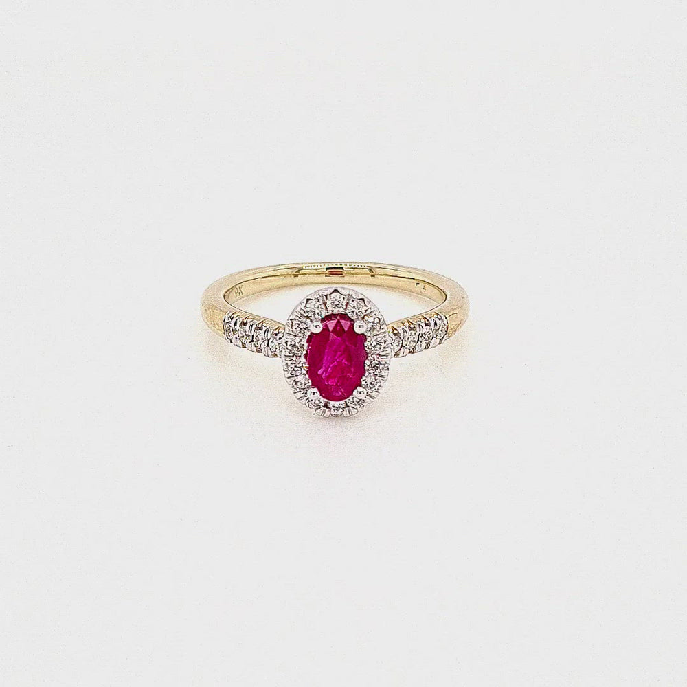 Load and play video in Gallery viewer, 9ct Gold Ruby & Diamond Cluster Ring
