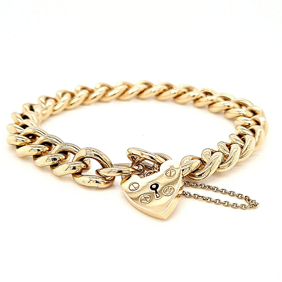 Vintage 9ct Gold Heavy Curb Link Bracelet