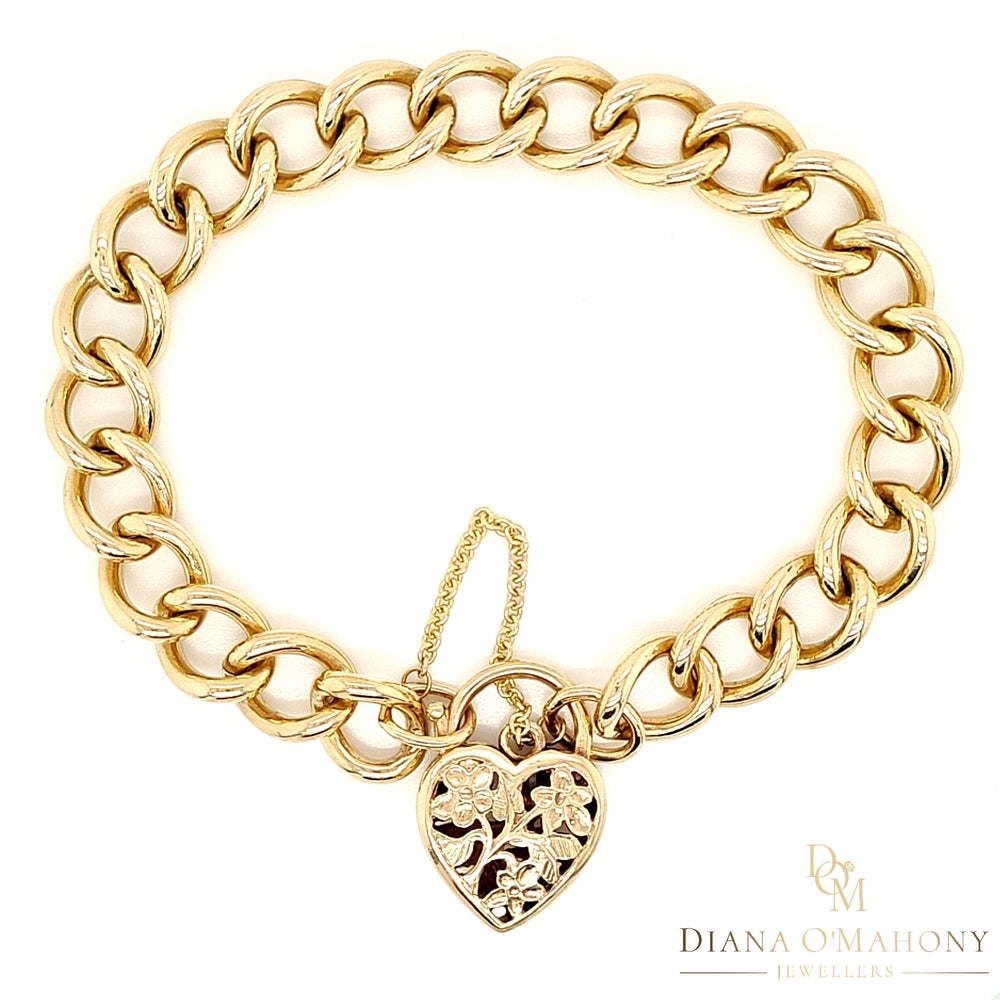9ct Yellow Gold Vintage Curb Link Bracelet with Padlock Clasp
